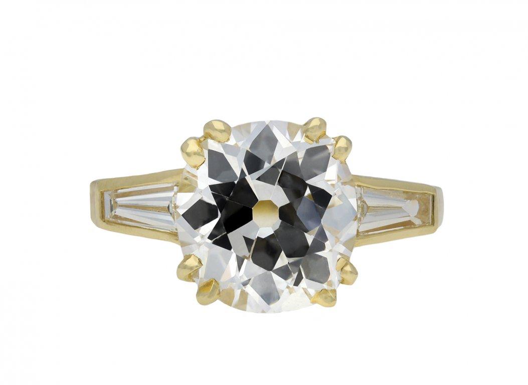 Old mine diamond flanked solitaire ring hatton garden