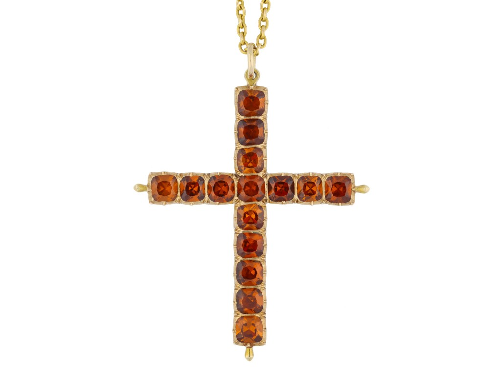 Victorian Hessonite Garnet cross pendant hatton garden
