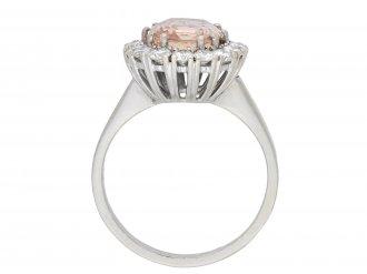 Padparadscha sapphire diamond coronet cluster ring hatton garden