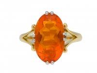 Edwardian fire opal solitaire ring hatton garden