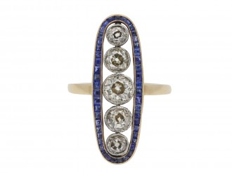 Diamond and sapphire cluster ring hatton garden