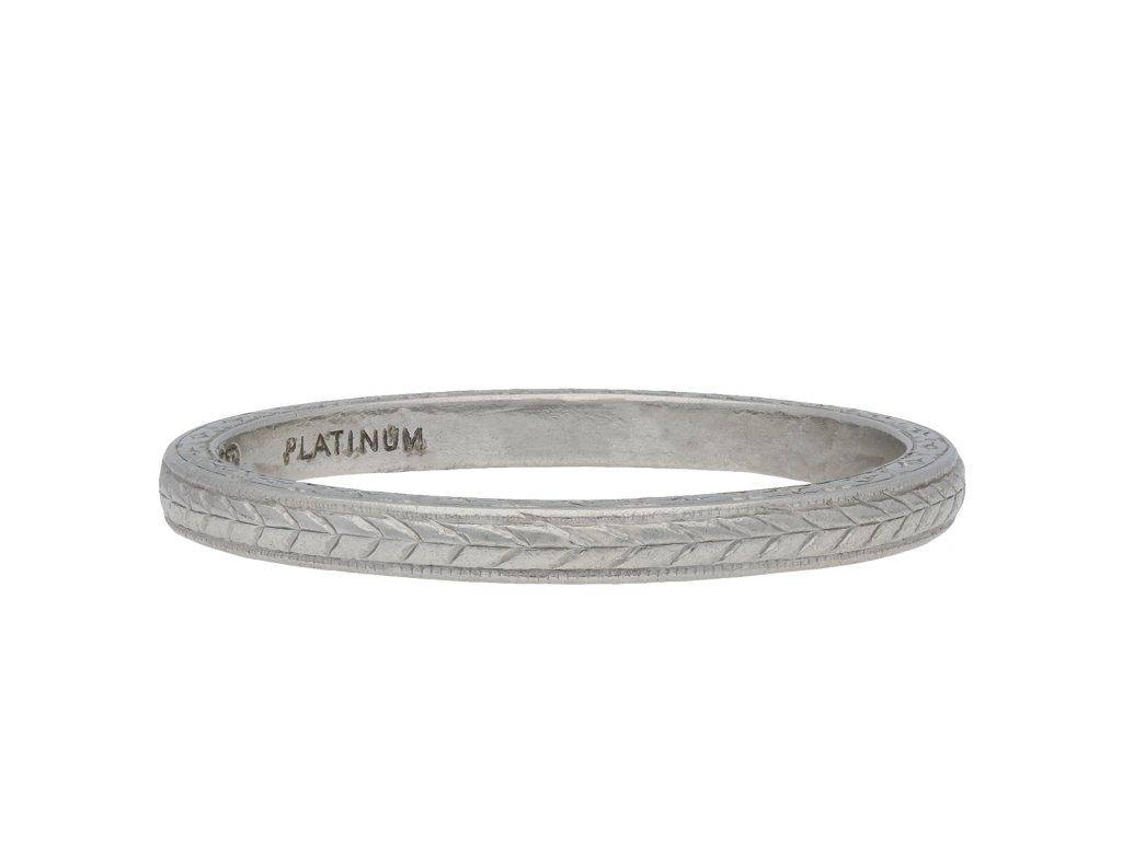 Engraved platinum wedding band hatton garden