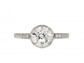 Belle Époque Diamond flanked solitaire ring hatton garden