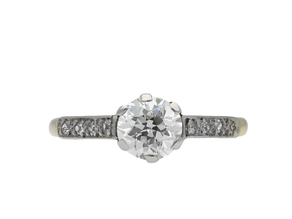 Diamond flanked solitaire ring hatton garden