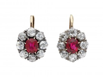 Burmese ruby and diamond earrings hatton garden