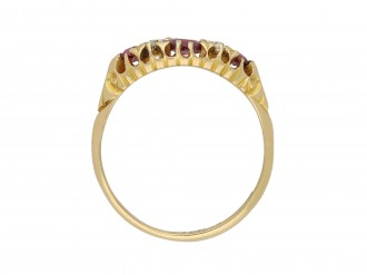 E & F Bauer ruby and diamond three stone ring hatton garden
