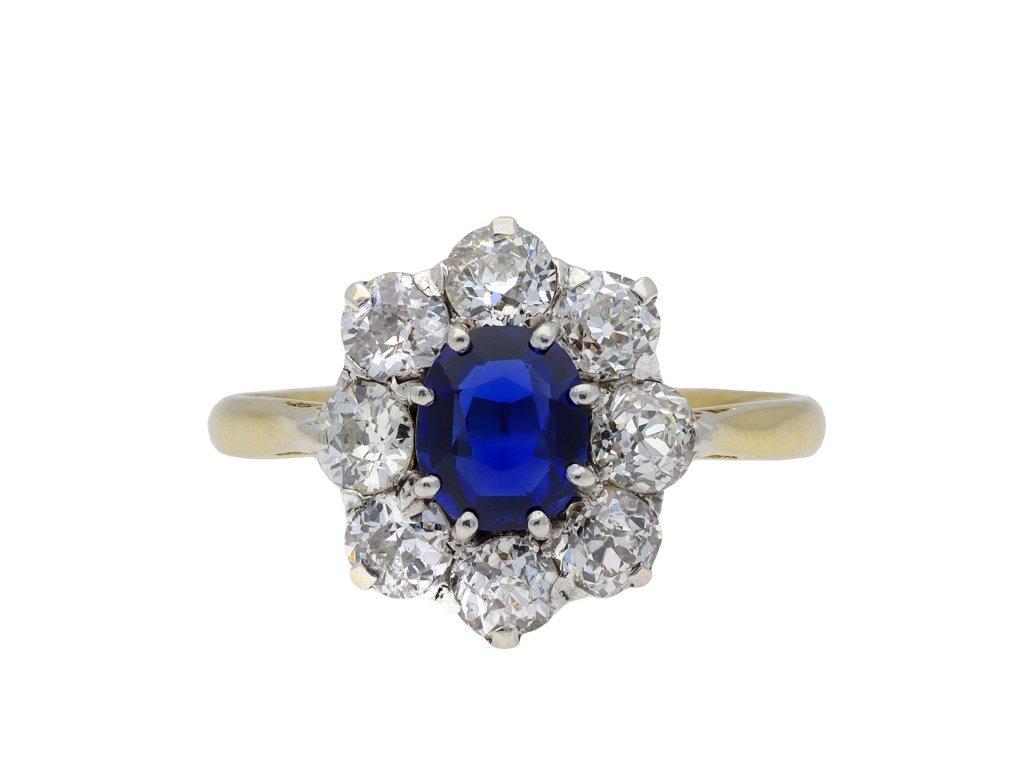 Victorian sapphire diamond coronet cluster ring hatton garden