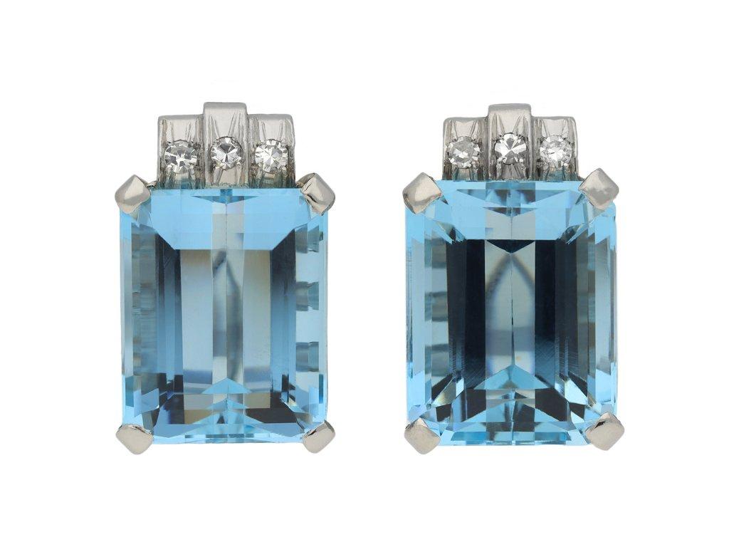 Art Deco aquamarine and diamond earrings hatton garden
