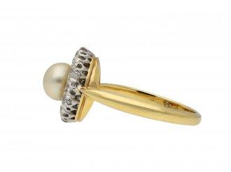 Pearl and diamond coronet cluster ring hatton garden
