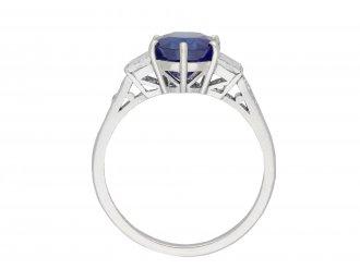 Art Deco Burmese Sapphire Diamond Solitaire Ring hatton garden