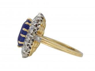 Ceylon sapphire and diamond cluster ring hatton garden