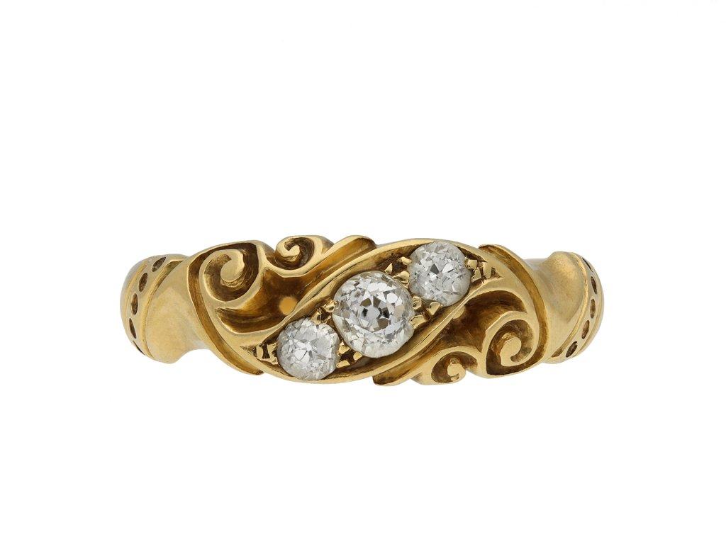 Victorian diamond three stone ring hatton garden