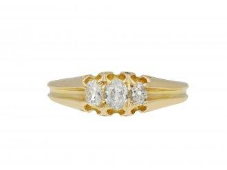 Victorian old mine diamond three stone ring hatton garden