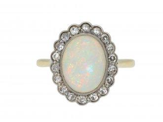 Edwardian opal and diamond coronet cluster ring hatton garden