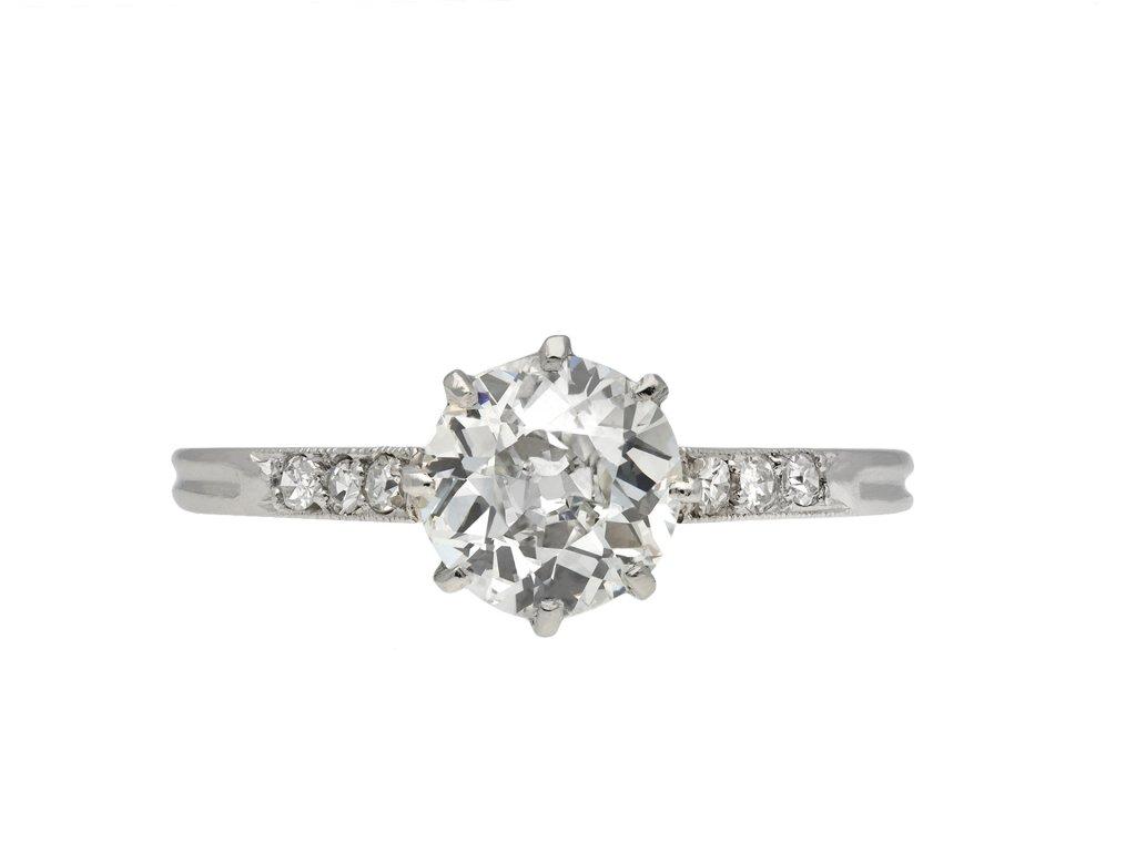 Antique Diamond flanked solitaire ring hatton garden