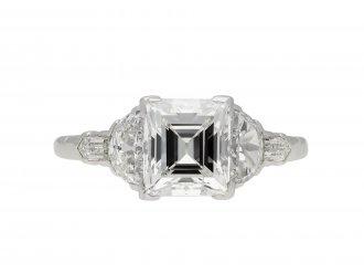 Art Deco square step cut diamond flanked solitaire ring hatton garden