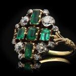 Victorian emerald and diamond cluster ring, English, circa 1840.