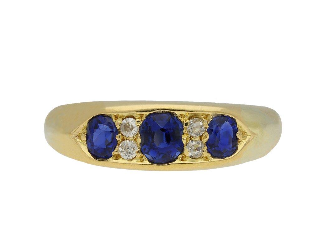 Victorian Sapphire and Diamond three stone ring hatton garden