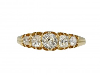 Victorian diamond five stone ring, English hatton garden