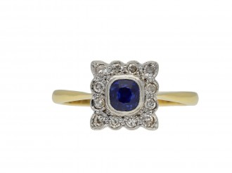 Edwardian Sapphire and Diamond Coronet Cluster Ring hatton garden
