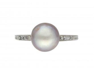 Art Deco natural pearl diamond solitaire ring hatton garden