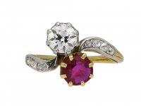 Edwardian Burmese ruby and diamond ring berganza hatton garden