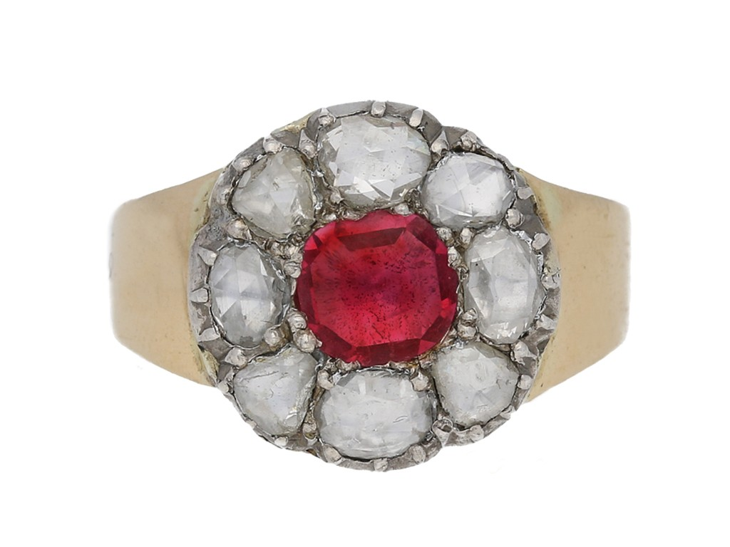 front view antique ruby diamond cluster ring hatton garden berganza