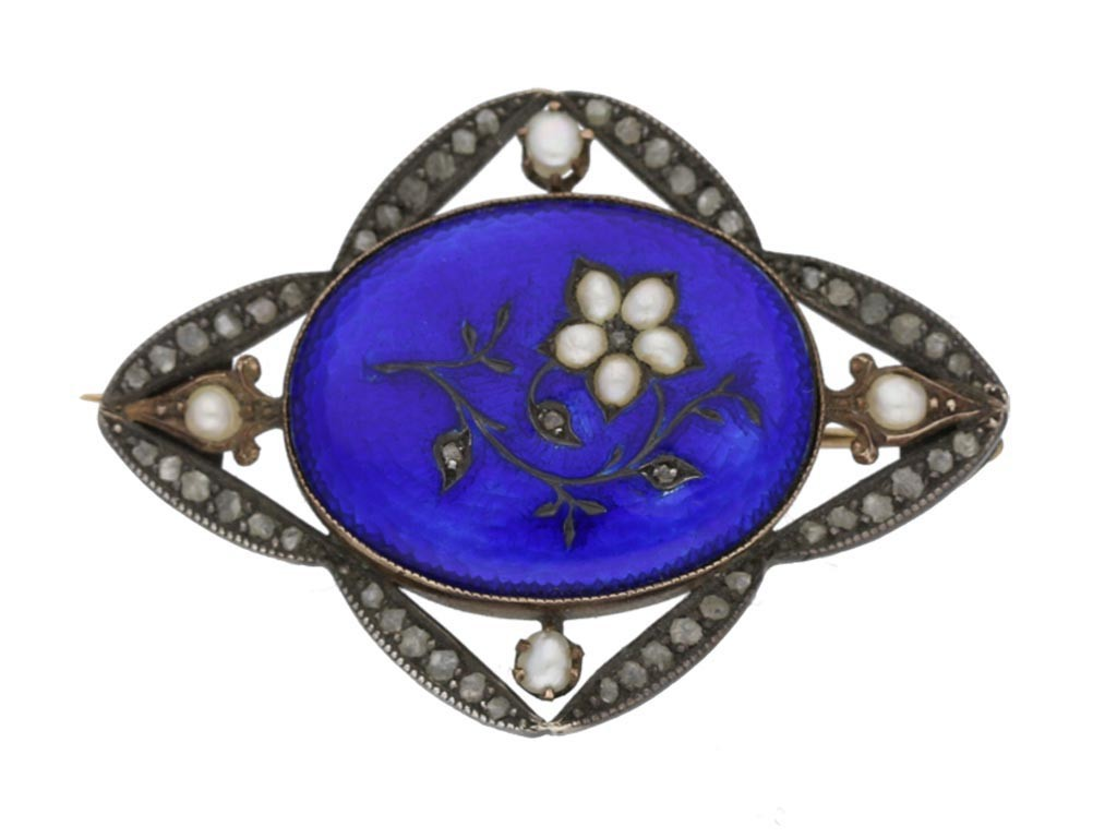 front view Enamel rose diamond and natural pearl brooch, circa 1840.