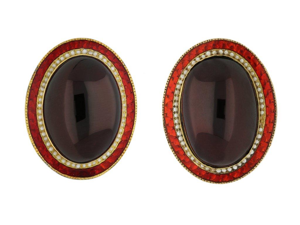 vintage garnet enamel gold earrings hatton garden berganza