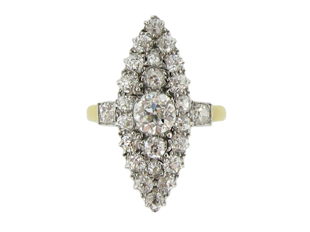 front view Antique marquise shape diamond cluster ring, circa 1900.