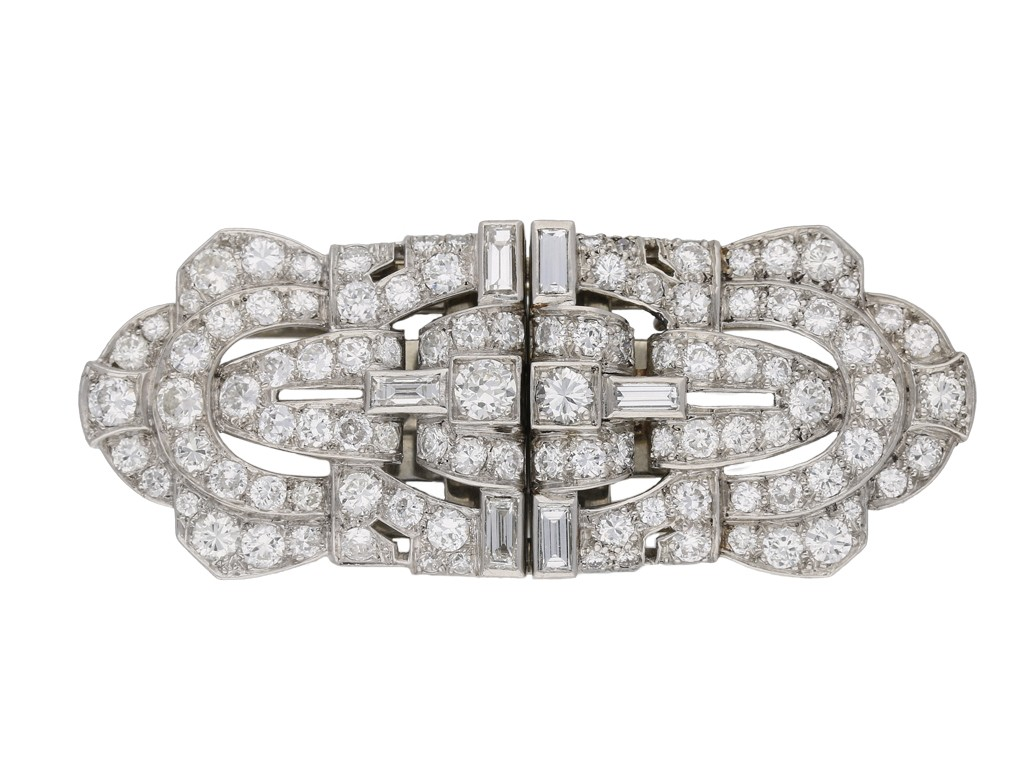 Diamond double clip platinum brooch berganza hatton garden
