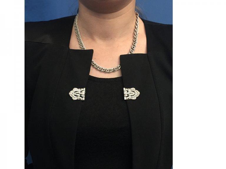 Diamond double clip platinum brooch berganza hatton garden