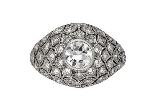 Bombé diamond cluster ring berganza hatton garden
