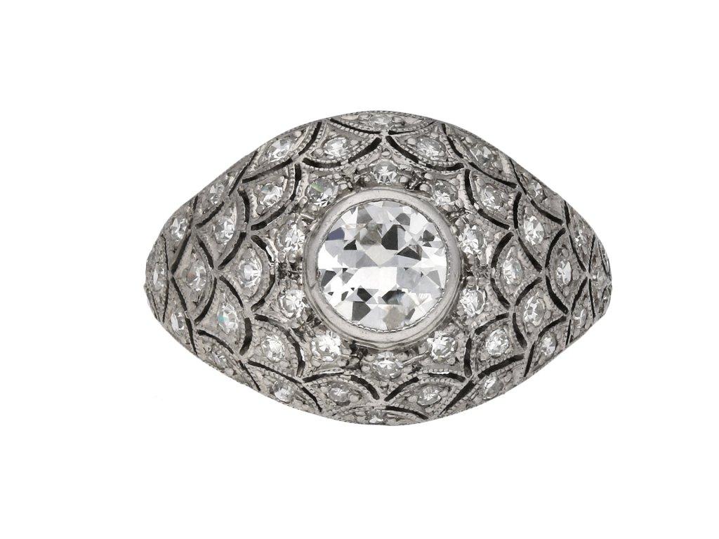 Bombé diamond cluster ring berganza hatton garden