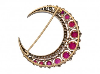 Antique ruby and diamond crescent brooch hatton garden