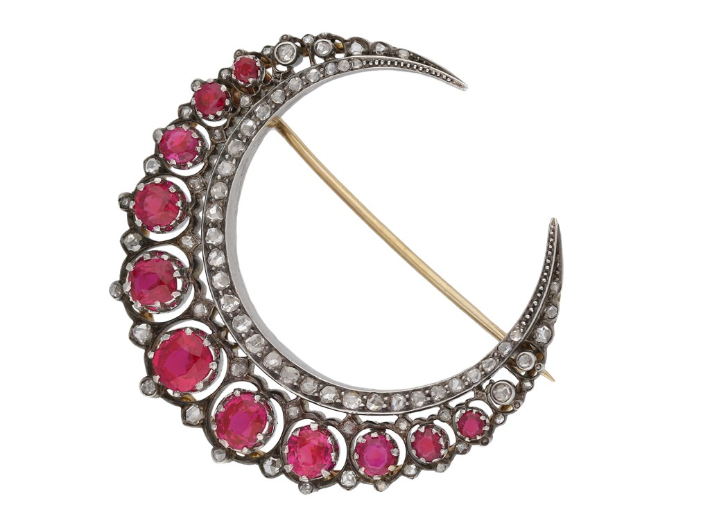 Antique ruby and diamond crescent brooch hatton garden