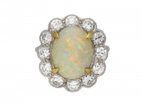 Opal and diamond coronet cluster ring berganza hatton garden