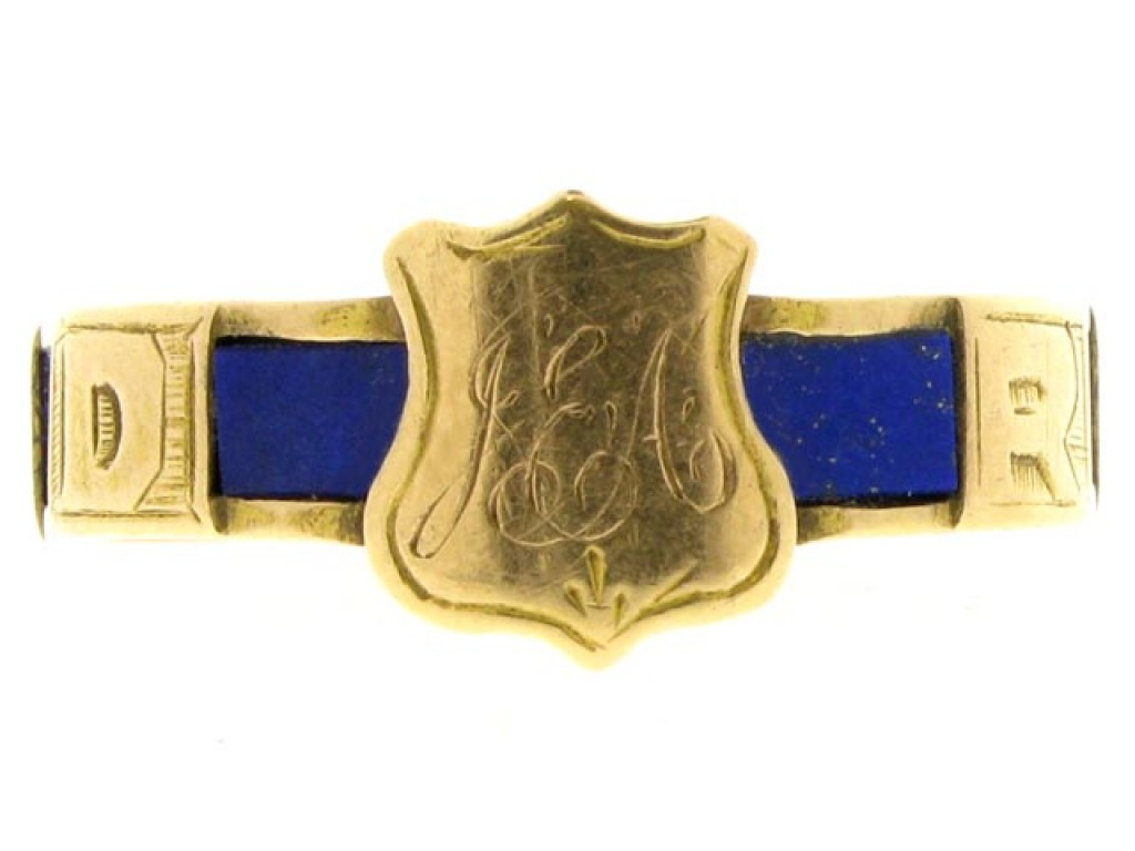 15ct Gold Memorial Ring Set with Lapis.