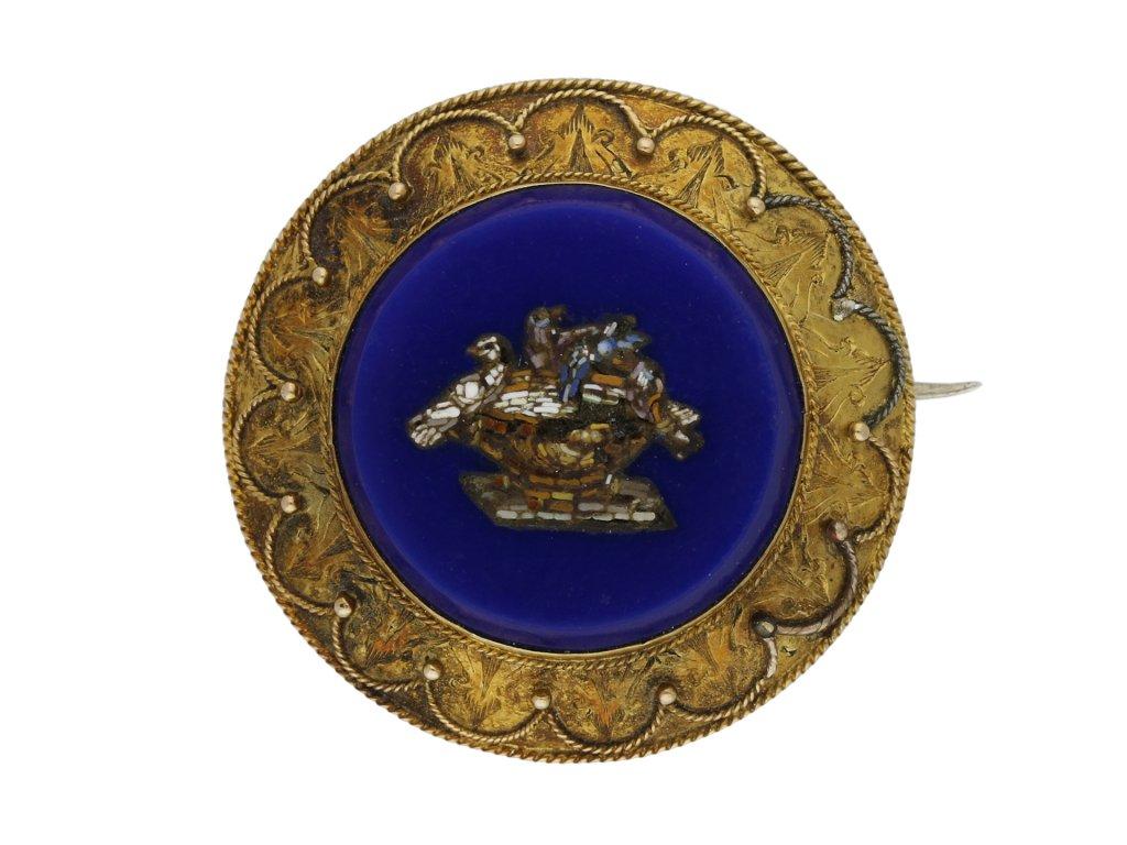 Mosaic brooch with a fine gold work berganza hatton garden