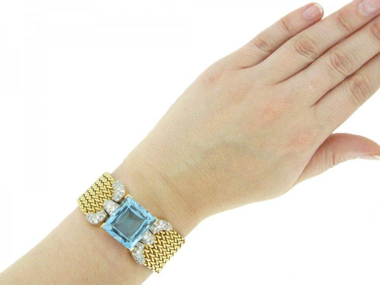 Aquamarine and diamond bracelet,