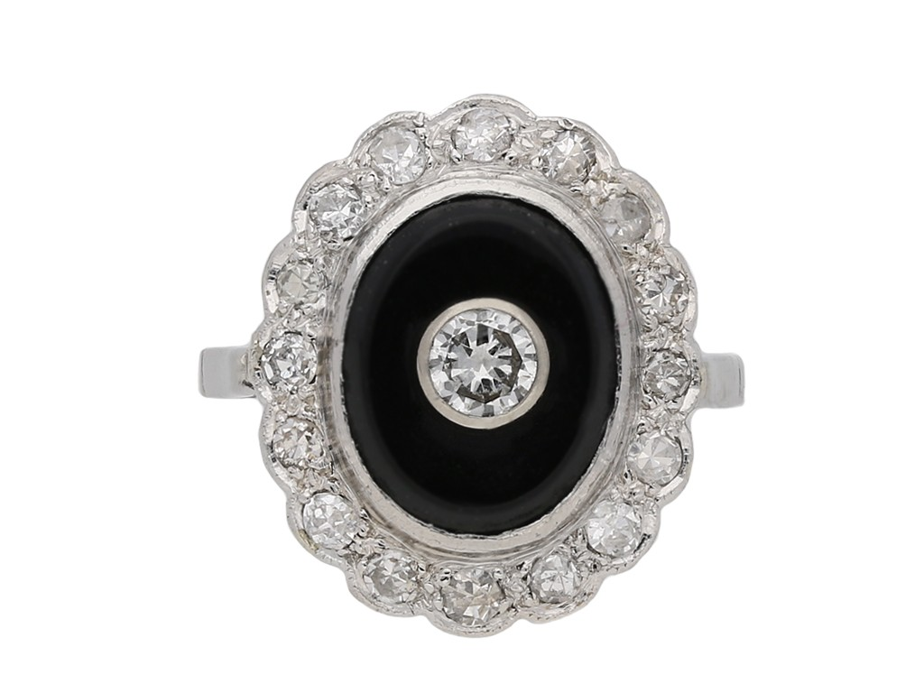 Onyx and diamond coronet cluster ring berganza hatton garden