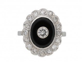 Onyx and diamond coronet cluster ring berganza hatton garden