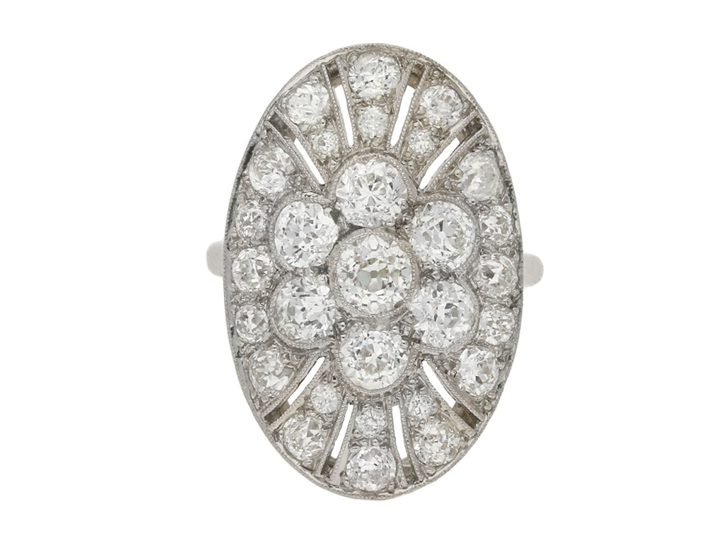 Oval diamond cluster ring berganza hatton garden