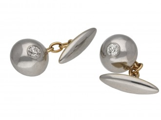 Diamond set cufflinks in platinum and gold berganza hatton garden