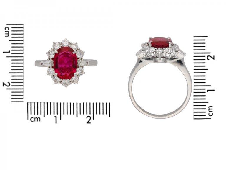 Vintage ruby and diamond cluster ring berganza hatton garden