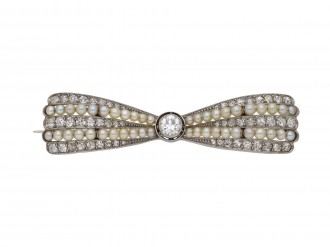 Antique pearl and diamond bow brooch hatton garden berganza