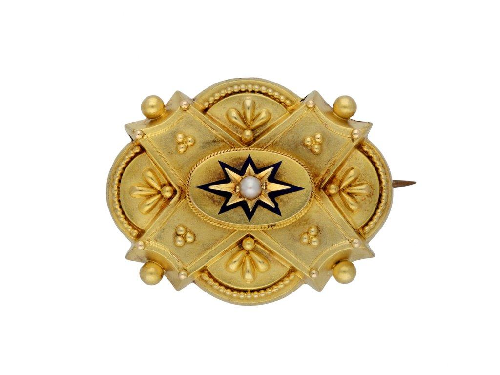 Victorian pearl and enamel locket brooch berganza hatton garden