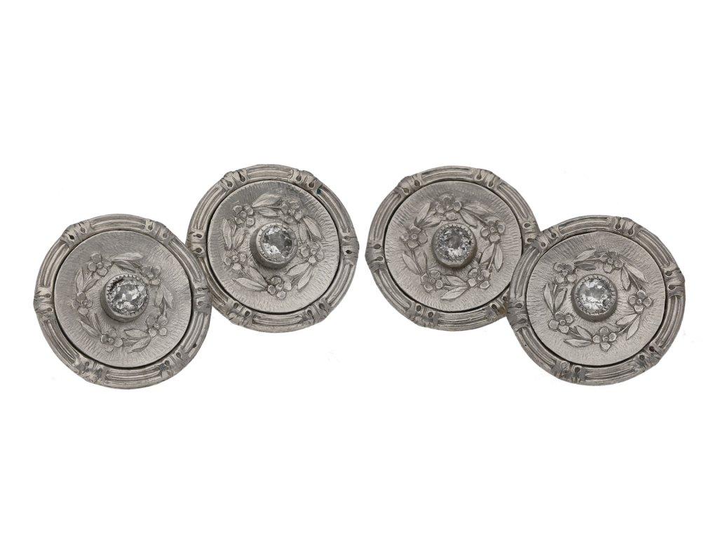 Antique diamond cufflinks in platinum gold berganza hatton garden