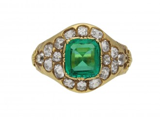 Victorian colombian emerald diamond ring berganza hatton garden