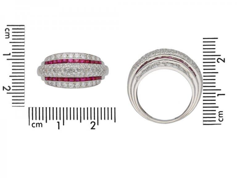 Vintage diamond and ruby cocktail ring berganza hatton garden